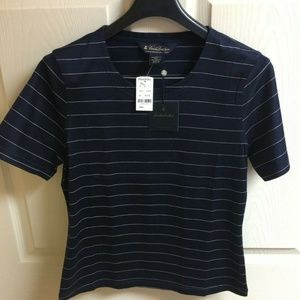 Brooks Brothers Women's Navy Stripe Top Small NWT!
